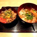 十和田湖牛バラ焼き丼 & せんべい汁